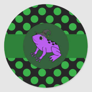 Purple Frog Witch with Green Dots Round Sticker