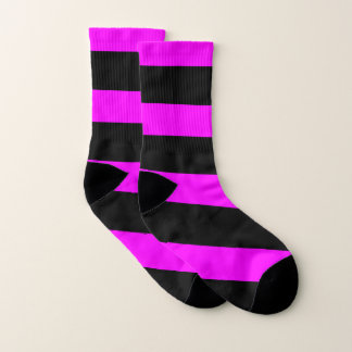purple fuchsia and black bar  Socks  Women 5-9) 1