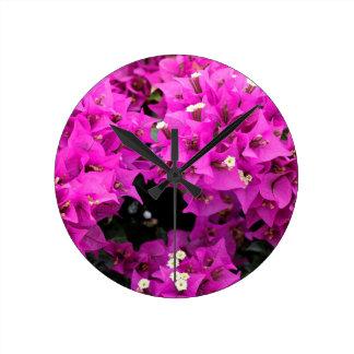 Purple Fuchsia Bougainvillea Background Round Clock
