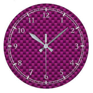 Purple Fuchsia Carbon Fiber Dial Large Clock