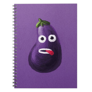 Purple Funny Cartoon Eggplant Spiral Notebook