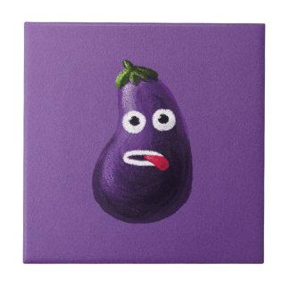 Purple Funny Cartoon Eggplant Tiles