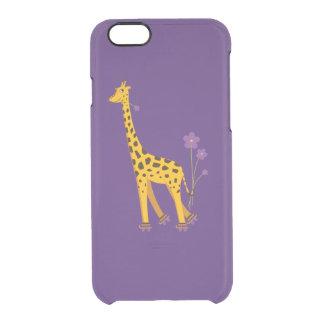 Purple Funny Cartoon Skating Giraffe Clear iPhone 6/6S Case
