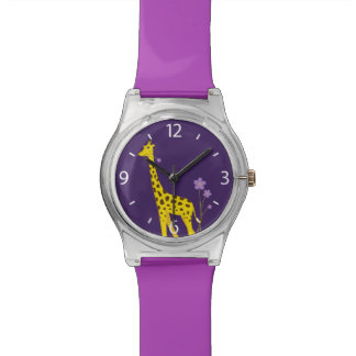 Purple Funny Giraffe Roller Skating Kids Wrist Watches