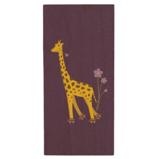 Purple Funny Roller Skating Giraffe Wood USB Flash Drive
