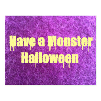 Purple Furry Monster Halloween Post Cards