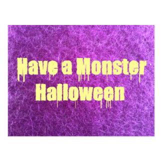 Purple Furry Monster Halloween Postcards