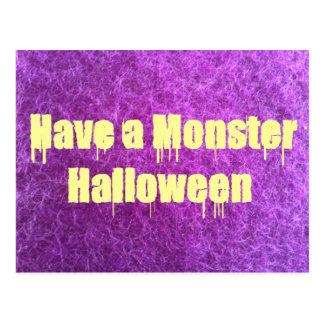 Purple Furry Monster Halloween Post Cards