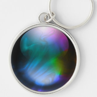 Purple Fusion Silver-Colored Round Keychain