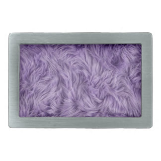 PURPLE FUZZY FUR RECTANGULAR BELT BUCKLE