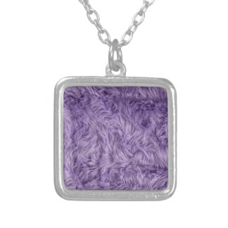 PURPLE FUZZY FUR SILVER PLATED NECKLACE