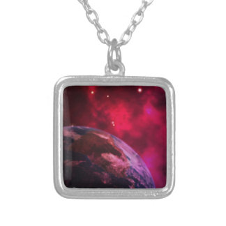 Purple galaxy 2 - purple galaxy silver plated necklace