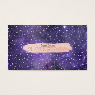 Purple Galaxy and Stars with Brushstroke Business Card