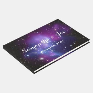 Purple Galaxy Cluster Planetarium Wedding Guest Book