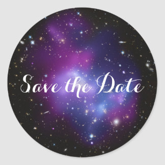 Purple Galaxy Cluster Save the Date Classic Round Sticker