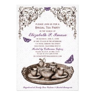 Purple Garden Bridal Tea Party Invitations Personalized Invites