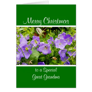 Purple garden flowers Christmas Card