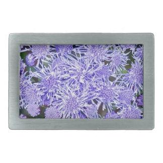 Purple garden of mums rectangular belt buckle
