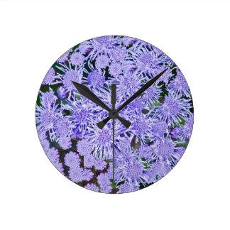Purple garden of mums round clock