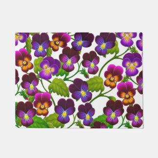 Purple Garden Pansy Flowers Doormat