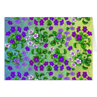 Purple Garden Violet Flowers Greeting Card