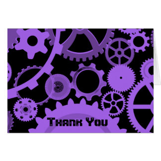 Purple gears on black Thank You card