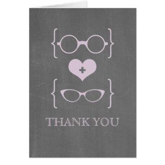 Purple Geeky Glasses Chalkboard Thank You Card