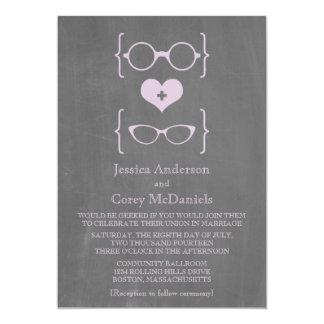 Purple Geeky Glasses Chalkboard Wedding Invite