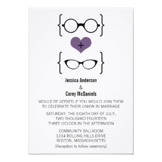 Purple Geeky Glasses Wedding Invitation