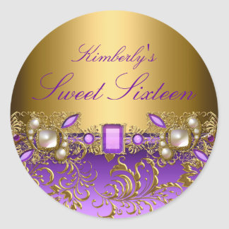 Purple Gem & Pearls Sweet Sixteen Sticker