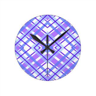 Purple Geometric Kaleidoscope pattern Round Clock