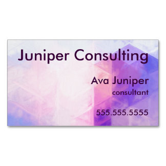Purple Geometric Painted Pattern Magnetic Business Card