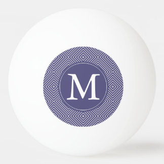 Purple Geometric Squares Monogram Ping Pong Ball