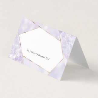 Purple Geometric Tent Cards | Wedding Place Cards