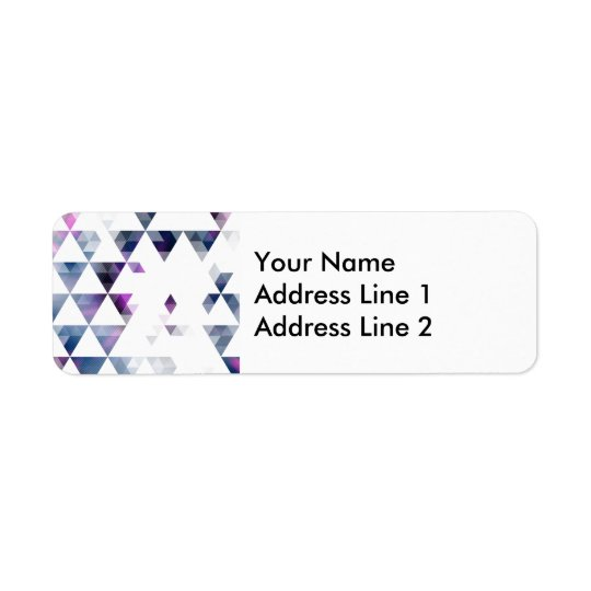 Purple Geometric Triangle Art Return Address Label