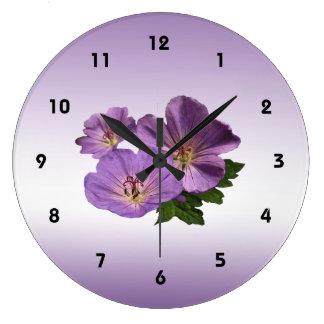 Purple Geranium Flowers Wall Clocks