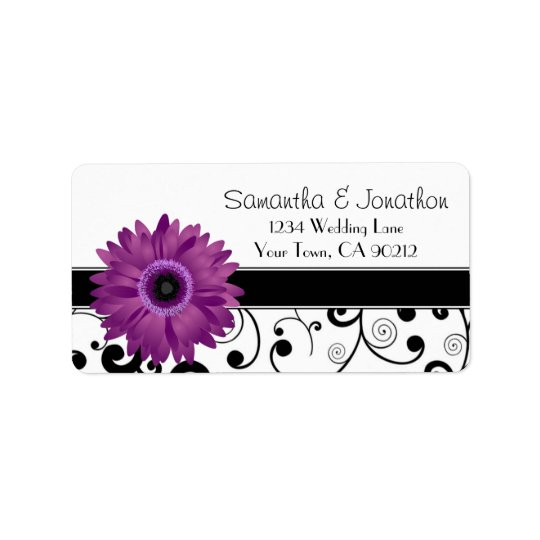 Purple Gerbera Daisy Black Scroll Address Label
