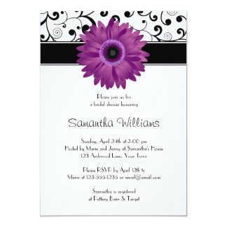 Purple Gerbera Daisy Black Scroll Bridal Shower Card