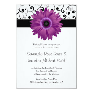 Purple Gerbera Daisy Black Scroll Design Wedding Card