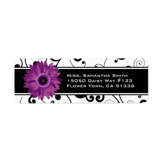 Purple Gerbera Daisy Black & White Scroll Return Address Label