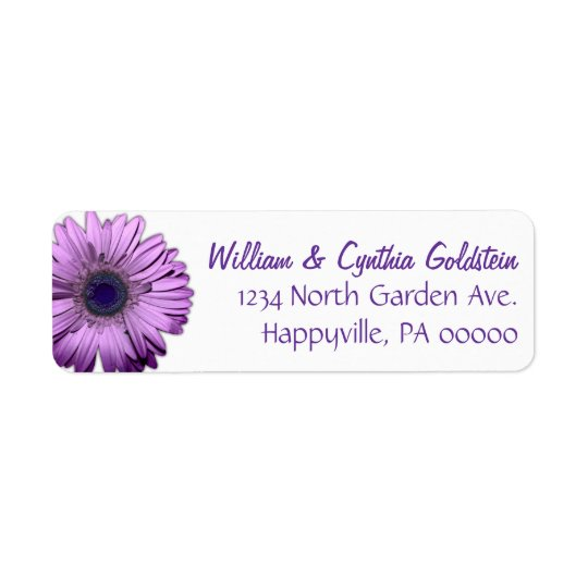 Purple Gerbera Daisy Custom Address Labels