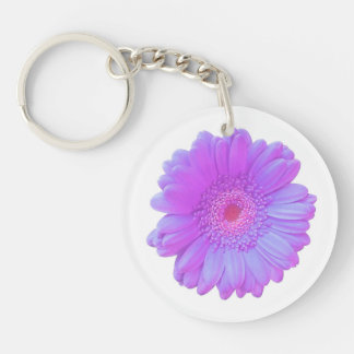 Purple gerbera daisy Double-Sided round acrylic keychain