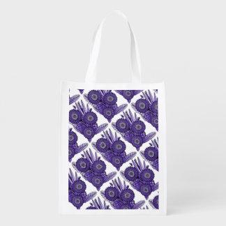 Purple Gerbera Daisy Flower Bouquet Reusable Grocery Bag