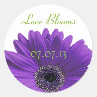 Purple Gerbera Daisy Love Blooms Wedding Stickers
