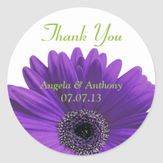 Purple Gerbera Daisy Thank You Wedding Stickers
