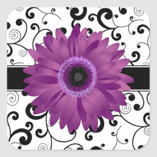 Purple Gerbera Daisy with Black Scroll Design Seal Square Sticker