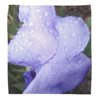 Purple German Iris With Some Raindrops Bandana