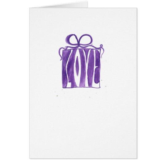 purple gift valentine card