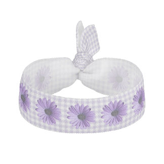 Purple Gingham and Flowers Head Band Hair Tie