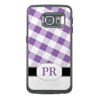Purple Gingham Monogram Samsung Galaxy S6 Edge